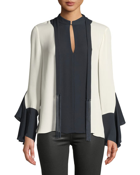 Elie Tahari Karissa Long-Sleeve Two-Tone Silk Blouse