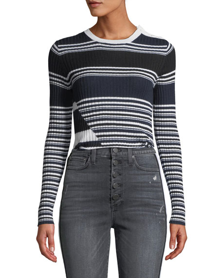 Equipment Desmond Crewneck Long-Sleeve Multi-Striped Merino Wool Sweater