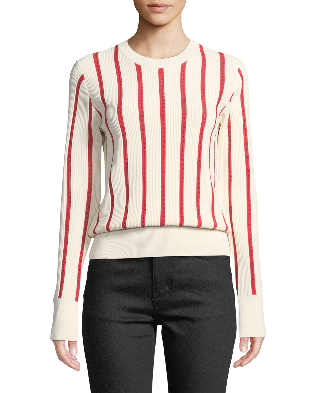 Amrit Crewneck Long Sleeve Striped Rib Knit Sweater by Equipment
