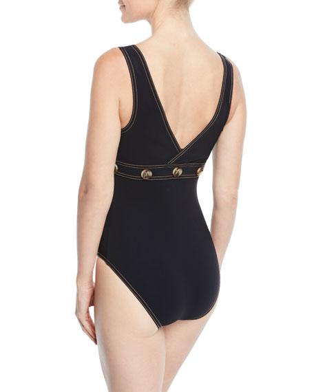 Karla Colletto Lauren Surplice-Neck Underwire One-Piece Swimsuit w/ Button Trim
