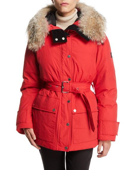 Belstaff Dawlby Waterproof Down Jacket w/ Fur Trim