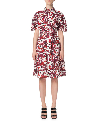 Belted Phoenix-Print Button-Front Shirt Dress
