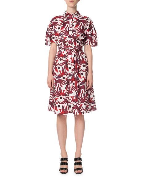 Kenzo Belted Phoenix-Print Button-Front Shirt Dress