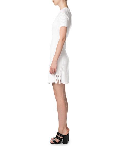 Kenzo Lace Knit Short-Sleeve Keyhole Short Dress