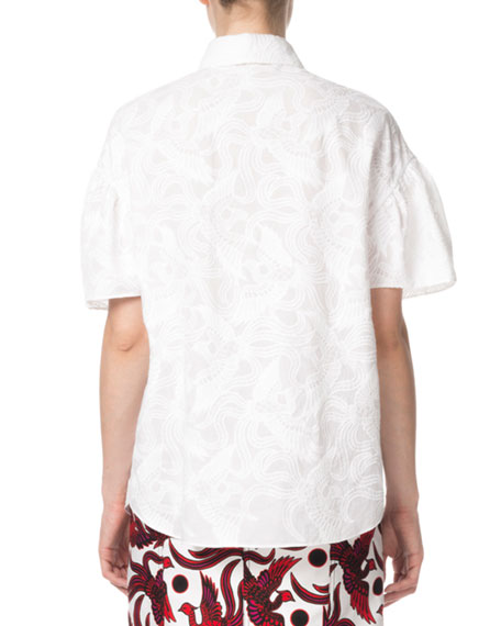 Kenzo Embroidered Point-Collar Balloon-Sleeve Shirt