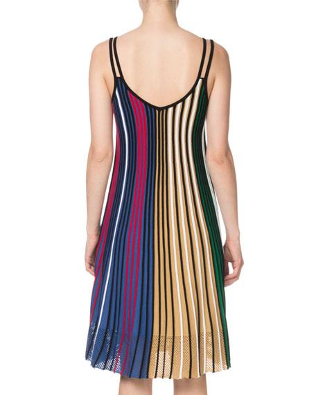 Kenzo Vertical-Stripe Sleeveless Mesh V-Neck Dress
