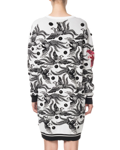 52ba3620207 Image 2 of 3  Kenzo Phoenix Jacquard Long-Sleeve Sweater Dress