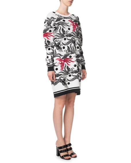 afa56c294e7 Image 3 of 3  Kenzo Phoenix Jacquard Long-Sleeve Sweater Dress