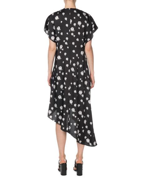 Kenzo Gathered Rose-Print Asymmetric Midi Dress