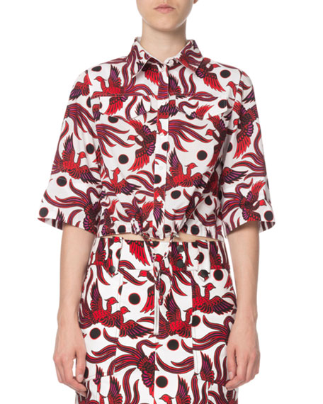 Image 1 of 2: Kenzo Cropped Phoenix-Print Short-Sleeve Top