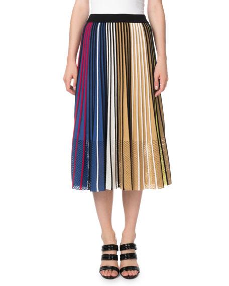 Vertical-Stripe Pleated Mesh Midi Skirt