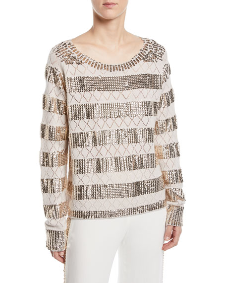 Melita Sequined Pointelle Sweater in Macrame