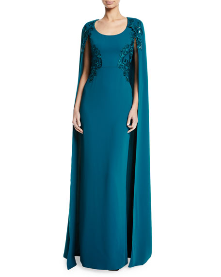 Embroidered Scoop-Neck Cape Gown