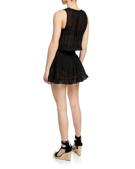 Ramy Brook Petra Scoop-Neck Eyelet Flounce Mini Dress