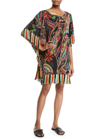 Fuzzi Stitch-Print Tulle Coverup Dress with Fringe