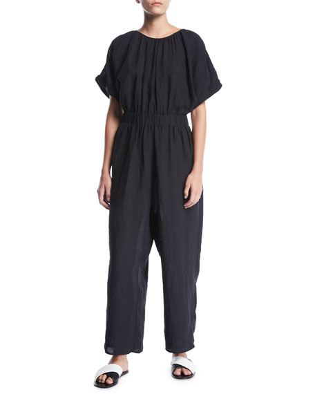 Marysia Supai Crewneck Short-Sleeve Wide-Leg Linen Jumpsuit