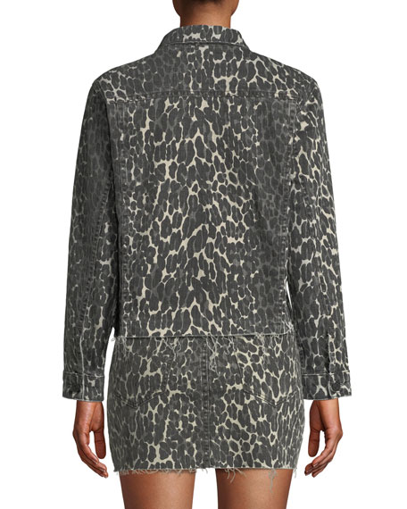 Image 2 of 3: MOTHER The Cut Drifter Leopard-Print Denim Jacket