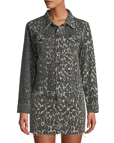 Image 3 of 3: MOTHER The Cut Drifter Leopard-Print Denim Jacket