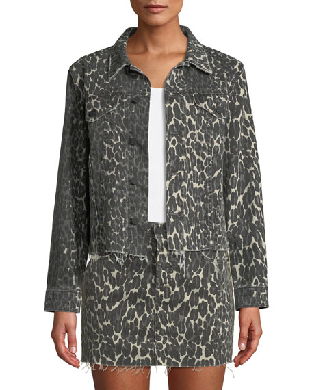Image 1 of 3: MOTHER The Cut Drifter Leopard-Print Denim Jacket