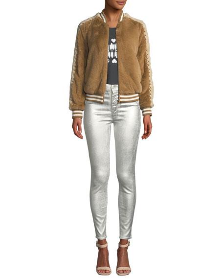 MOTHER Looker Metallic High-Waist Skinny Jeans