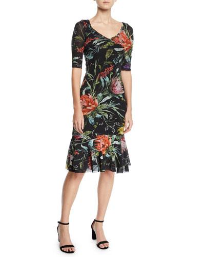 Botanical Floral Ruffle-Hem Dress