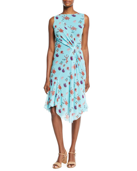 Fuzzi Botanical Floral-Print Side-Shirred Dress