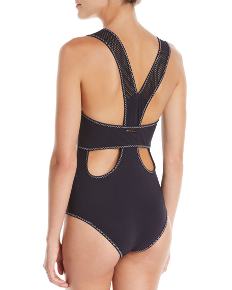Stella McCartney V-Neck Racerback One-Piece Swimsuit with Contrast Stitching