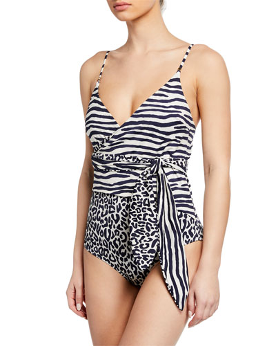 Timeless Animal-Print Wrap One-Piece Swimsuit