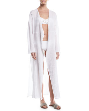 Pondicherie Mata Open-Front Long-Sleeve Swim Coverup