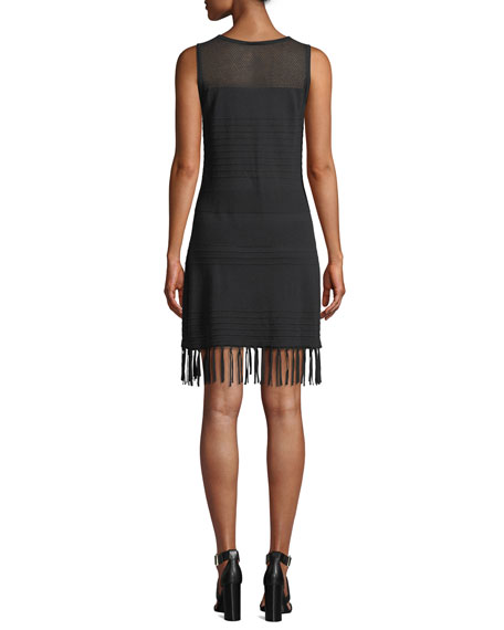 Tommy Bahama High-Neck Sleeveless Sweater Dress with Fringe