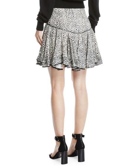 Derek Lam 10 Crosby Floral-Print Flounce Mini Skirt with Pompom Trim