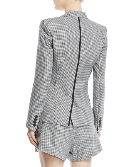 Derek Lam 10 Crosby Single-Button Check Linen-Blend Blazer
