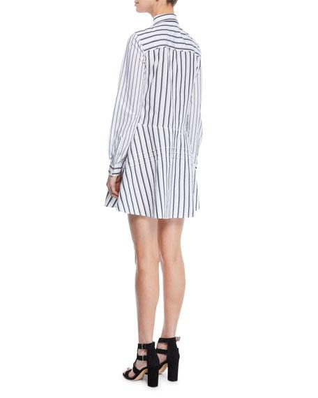Derek Lam 10 Crosby Long-Sleeve Striped Cotton Shirt Dress