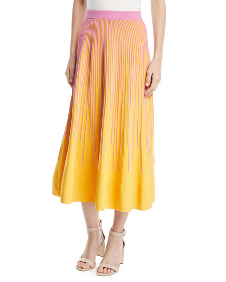 Derek Lam 10 Crosby Striped Knit A-Line Skirt