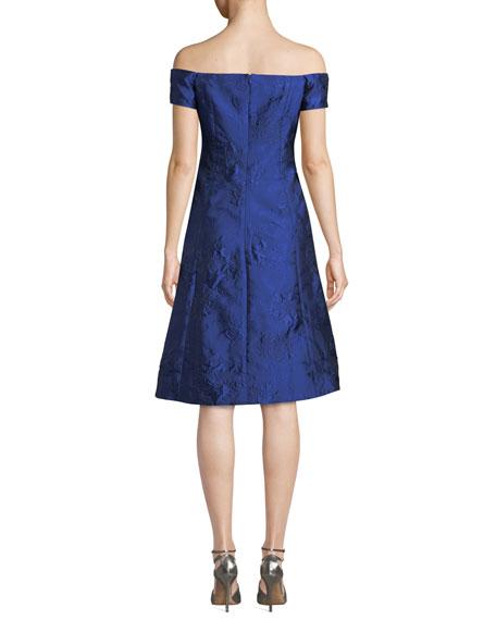 Rickie Freeman for Teri Jon Off-the-Shoulder Cloque Jacquard Cocktail Dress