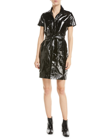Lucille Belted Leather Shirtdress