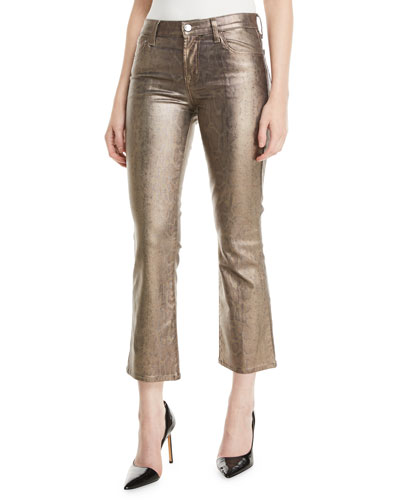 Selena Mid-Rise Boot-Cut Metallic Animal-Print Jeans