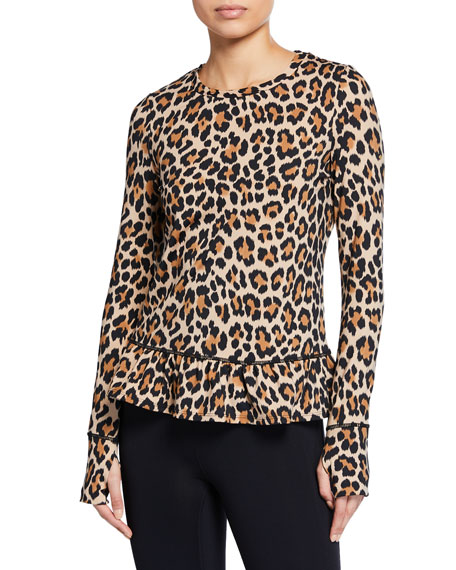 kate spade new york leopard-print long-sleeve flounce top