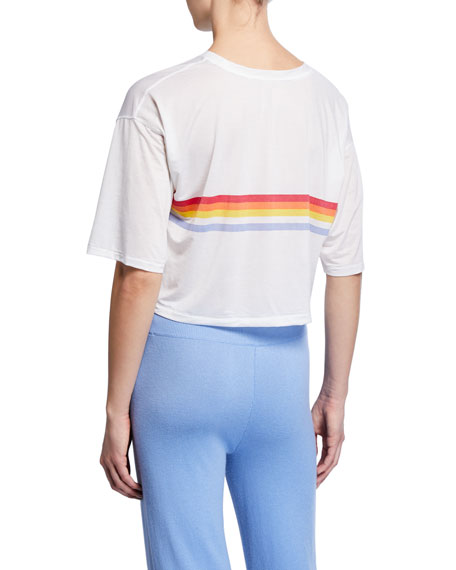 Image 2 of 2: Spiritual Gangster Retro Active Sessions Striped Cropped Tee