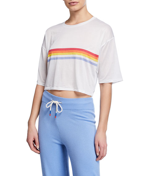 Image 1 of 2: Spiritual Gangster Retro Active Sessions Striped Cropped Tee