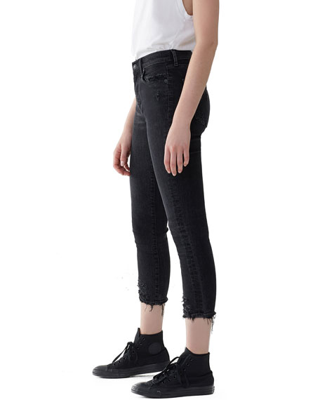 AGOLDE Sophie High-Rise Cropped Skinny Jeans with Frayed Hem