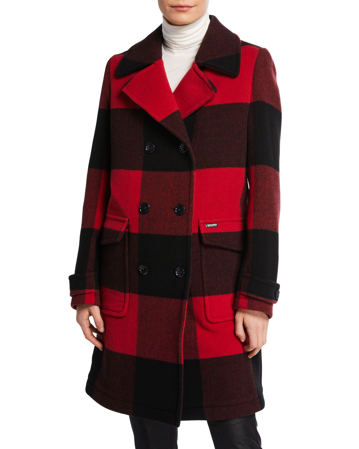 513b5e4933d1a Woolrich Silverton Double-Breasted Check Coat | Neiman Marcus