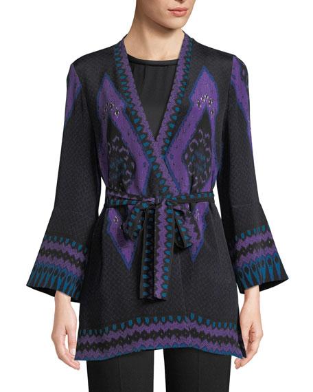 Kobi Halperin Maribel Silk Kimono Jacket w/ Sash Belt