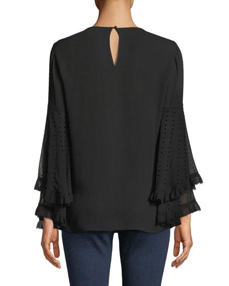 Kobi Halperin Ora Sequin-Sleeve Blouse