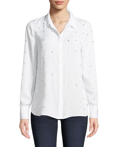 Kobi Halperin Shaelyn Dotted Button-Front Long-Sleeve Silk Blouse