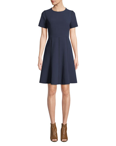 Cheyenne Jewel-Neck Short-Sleeve A-Line Dress
