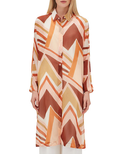 Kyrie Long-Sleeve Button-Front Modernist Chevron Georgette Duster Blouse
