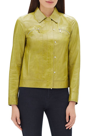 Lafayette 148 New York Kesha Zip-Front Lacquered Lambskin Leather Jacket