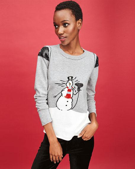 Lisa Todd Petite Snowman w/ Blow Dryer Intarsia Sweater