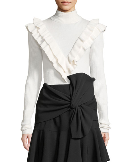 cinq a sept Palomino Ruffle Turtleneck Pullover Sweater